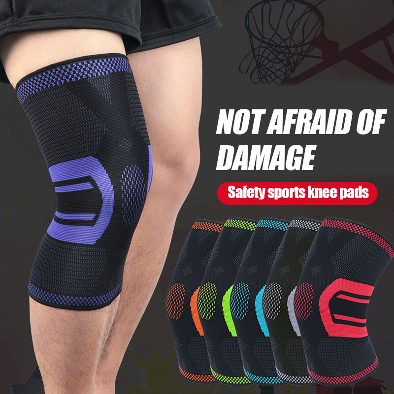 1pc Compression Knee Brace Sleeve Unisex Knitted Anti-slip Breathable Kneepads Fitness Basketball Running Knee Support Protector
