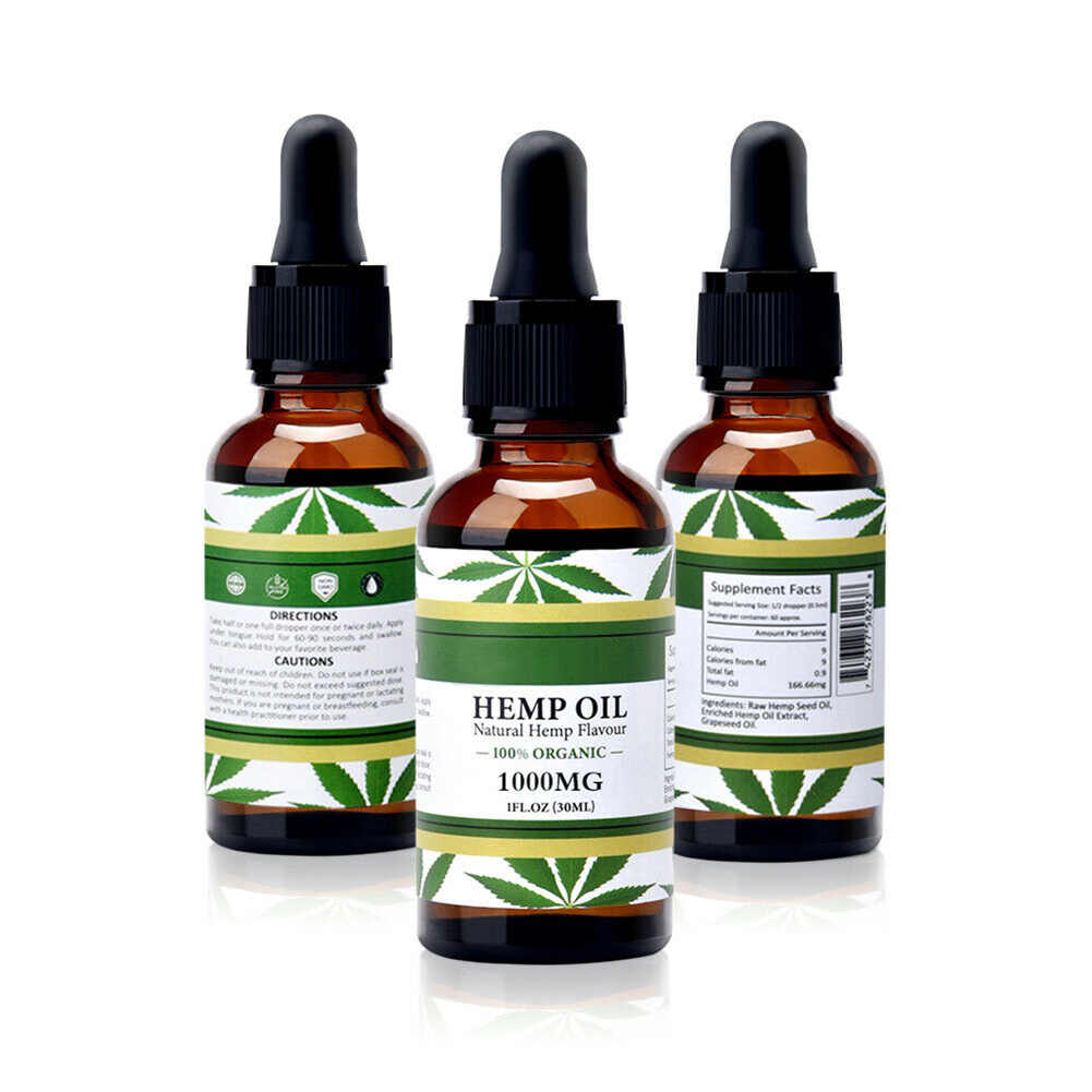 Newest Organic Hemp Seed Oil 1000mg Sleeping Aid Anti Stress Nerve Pain  Relief Promotion