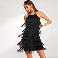 Vestido corto negro flecos halter sin mangas otoño