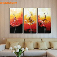 Unframed 3panel Modern Abstract Oil Painting Handpainted Ballet Dancer Picture Painting On Canvas For Living Room