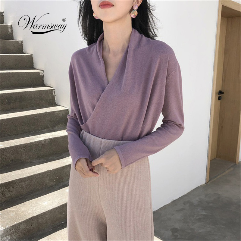 sexy deep v neck women knitted short sweaters fashion 2018 solid full  sleeve pullovers woman cross 6b626c6f5