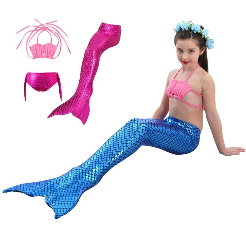 Fairy Tale Mermaid Girls Swimwear Cosplay Costume Baby Children Bikini Kids Swimsuit ( Top + Underwear + Tail )