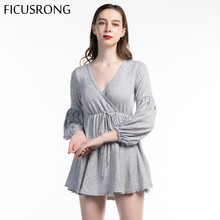 FICUSRONG Woman V Neck Ruffle Knitted Sweater Dress Autumn Winter Lace Up Dresses Vintage Full Sleeve Solid A-Line Women Dress недорого