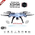 Nueva syma x5hw fpv rc quadcopter drone con cámara de wifi 2.4g 6-axis dron rc helicóptero vs jjrc h33 con 5 batería + cargador de ca