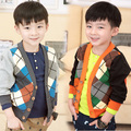 new autumn winter children boy sweaters v-neck collar knitwear sweater open stitch Ling plaid Cardigan coat