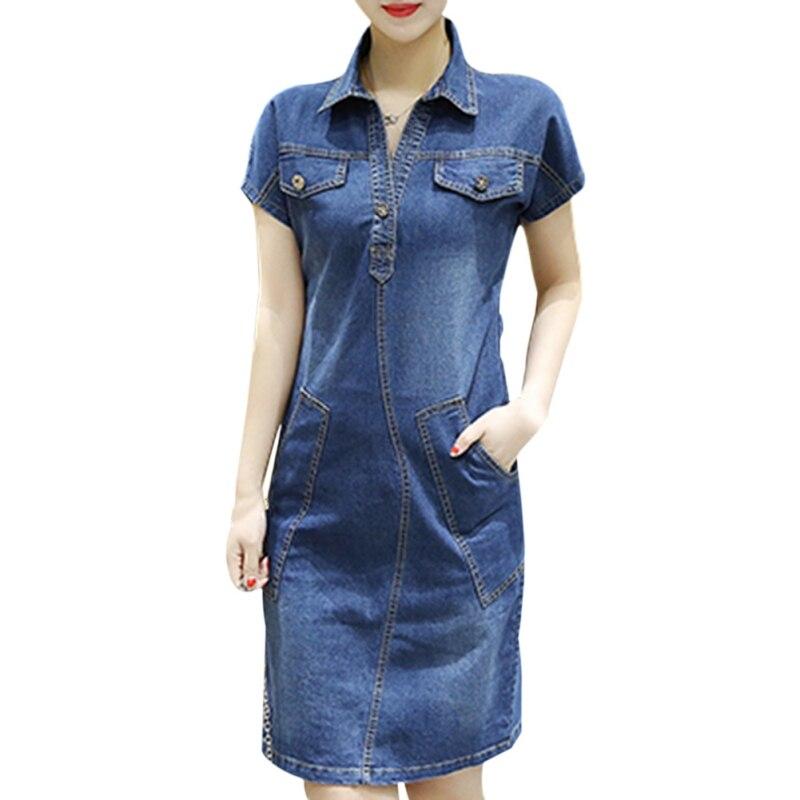 3957fdf9d جديد الصيف الدنيم اللباس النساء خمر فضفاض بدوره إلى أسفل طوق قصيرة الأكمام  جيوب الجينز فساتين