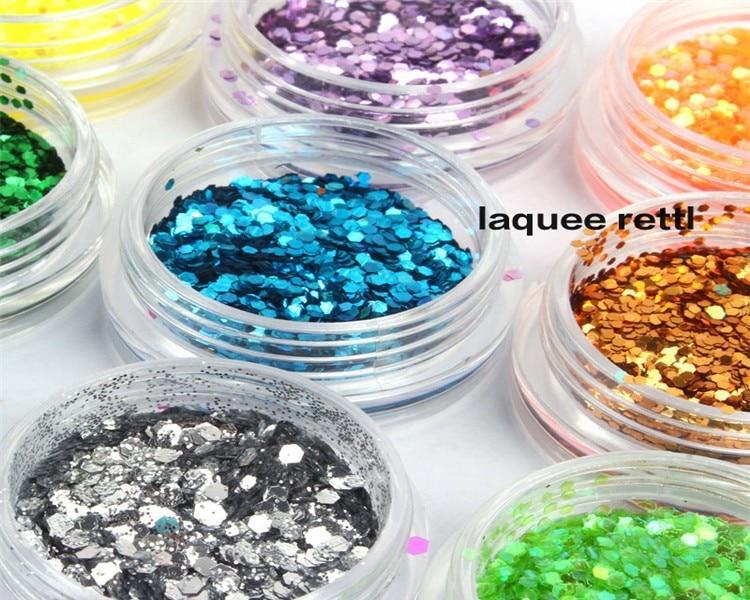 18 Colors Nail Glitter 3d Nail Art Hexagon Glitter Palette Nail Art