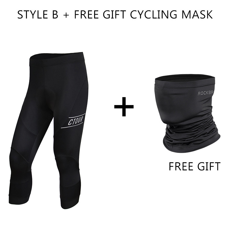 Spakct Men Riding Long Trousers Tights Cycling Pants with Padded Black