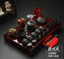 New kung fu tee-set 28pcs satzes tee werkzeuge lila ton yi xing teasets schwarz weiß vollen satz der chinesischen tee werkzeug-freies verschiffen