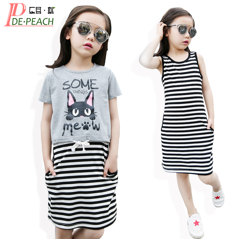 Girls Stripe Suits Girl Fashion Brand Sport Clothing Set 2017 New Children Cartoon t-shirt+Striped Dress Kids Cute Clothes Sets 15 free shipping top striped dress children baby 3 pcs suit set girl s clothing sets girls sport suits chilren set