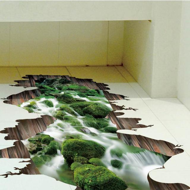 84x66 Cm Wasserdichte 3d Wand Kleben Papier Grun Wasserfluss Falsche