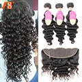 Brazilian Loose Wave With Closure 3 Bundles With Frontal 8A Grade Human Hair Bundles With Frontal Loose Wave Brazilian Hair