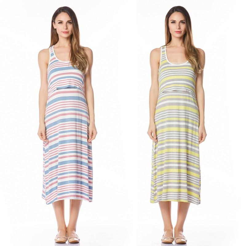 f2de956d0cd Fashion 2 Piece Skirt Striped Maternity Dress Nursing Dresses Breast ...