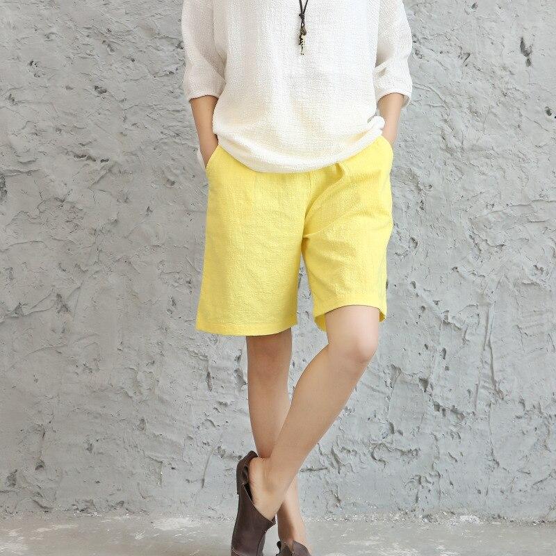 6 Colors 2019 Casual Summer Shorts For Women Fluid Loose Solid Color Elastic Waist Linen Short Feminino Pantalones Cortos