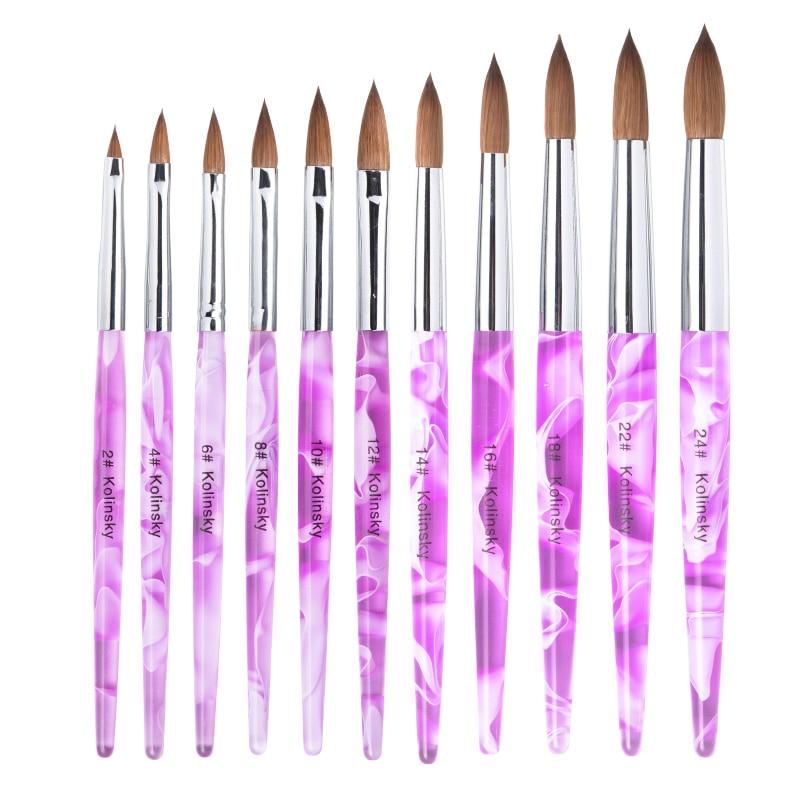 12 pièces/ensemble taille 2-24 100% Kolinsky Sable acrylique Nail Art brosse détachable stylo Nail Art manucure outil grossiste fournisseur
