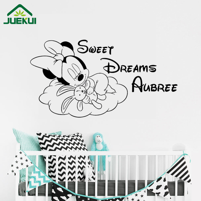Personalized Minnie Mouse Wall Decal Sweet Dreams Baby Quote Vinyl Sticker Name Poster Custom Nursery