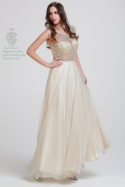 Real Pictures Hot Sale Crystal Evening Dresses Cap Sleeves Chiffon ...