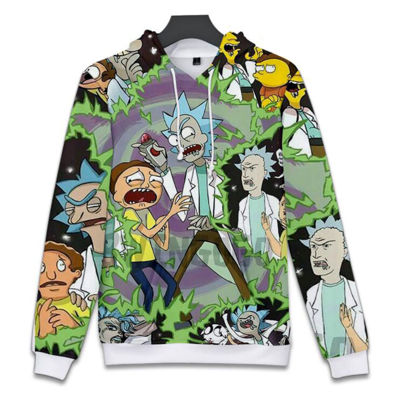 Cartoon Rick and Morty Hooded Sweatshirts Men Women Streetwear Hipster Pullovers Funny Scientist Rick 3D Print Hoodie Tracksuits