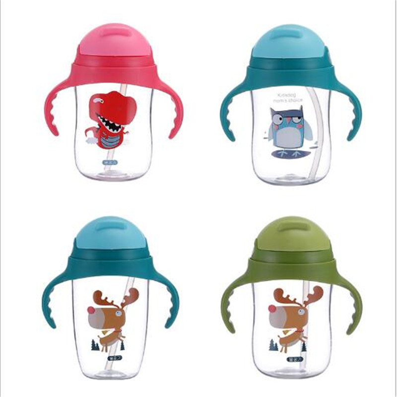 350ML Cute Cartoon Children Feeding Bottle Safe Silicone Training Cups Bottle For Kids Baby Strawing Water Cup With Handle