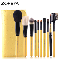 Zoreya Brand Women Fashion Make Up Brushes With Pu Leather Bag Goat Hair Maquiagem Brush Toiletry