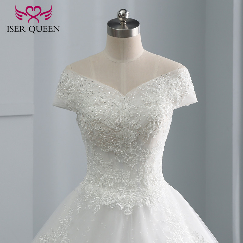 Cap Sleeve Embroidery Charming Beading V NeckTulle Wedding Dress Ball Gown New 2020 Custom Made Size Bride Wedding Gown WX0107