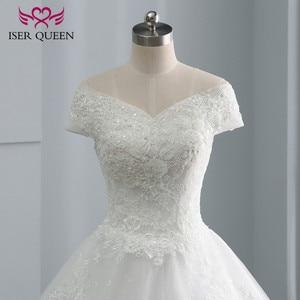 Image 2 - כובע שרוול רקמת מקסים ואגלי v צוואר לבן חתונה שמלת 2020 תפור לפי מידה גודל כדור שמלת חתונת שמלות WX0107