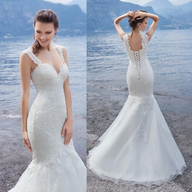 6bc4fb502b224 Catalog Summer Beach Wedding Dresses Sweetheart Spaghetti Straps Lace Wedding  Gowns Sweep Train Lace-Up Long Cheap Bridal Dresse