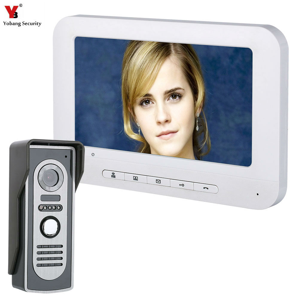 """Yobang Security 7"""" Color Monitor Security Doorbell Home Families Door Access Control Video Intercom Interphone Door Phone Kits-in Video Intercom from Security & Protection    1"""