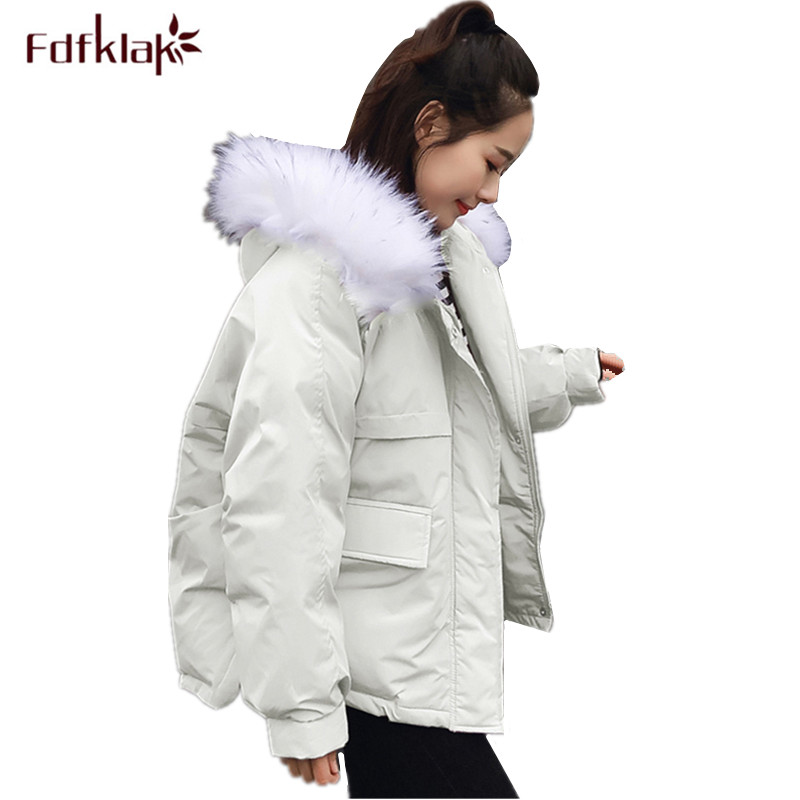 Fdfklak Korean winter coat women hooded short jacket female outerwear coats thick cotton jacket   parka   woman chaqueta mujer
