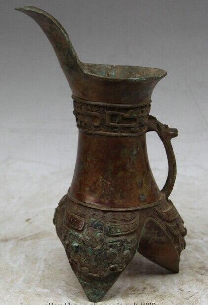 "JP S62 10"" Old Chinese Bronze Folk 3 Foot word Beast handle vessel Vase goblet cup"