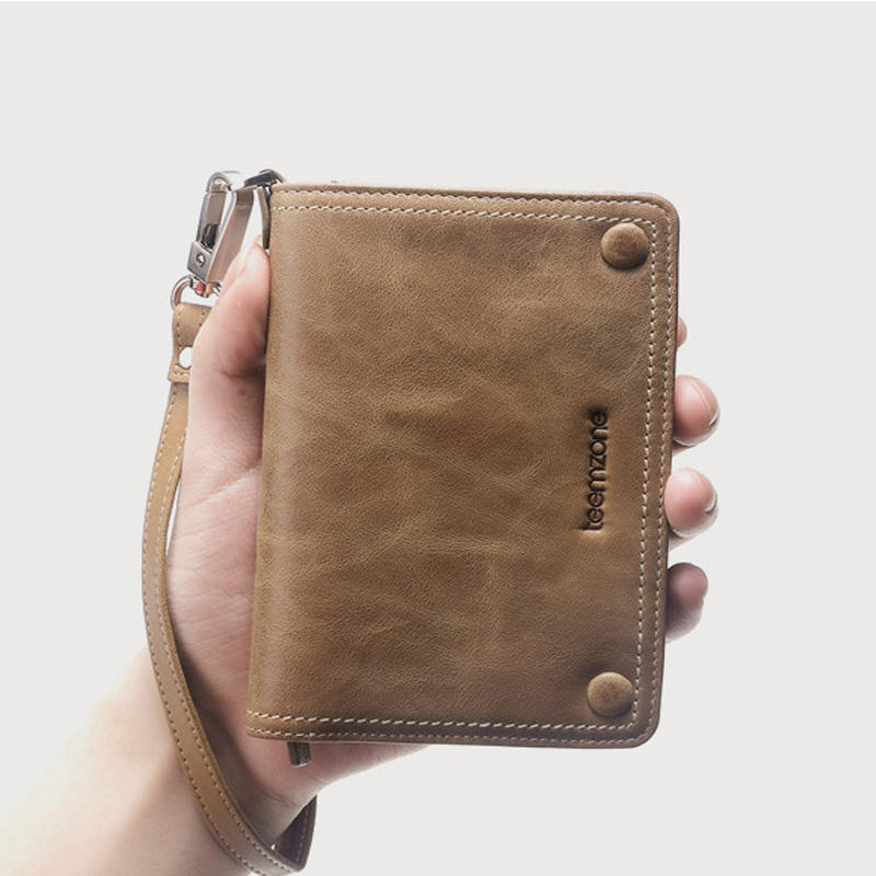 Genuine Leather Casual Men Organizer Wallet for Credit Card High Quality Brand Solid Purse with Photo Holder&Coin Pocket J50