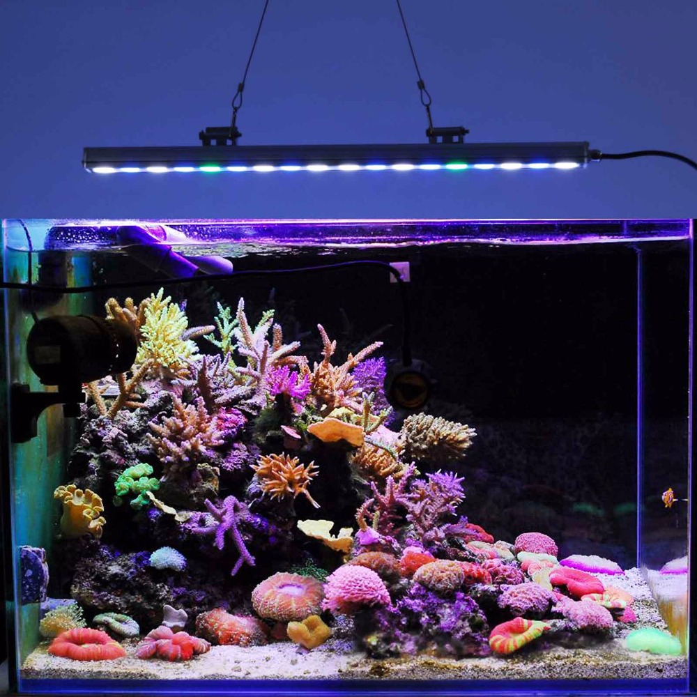 цена на 54W Aquarium LED strip light waterproof for freshwater Reef Coral Fish tank Led Aquarium lighting lamp 18*3w Led chips