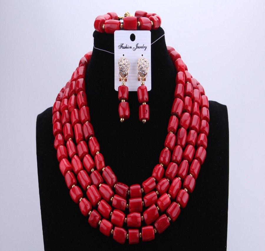 2017 perles de corail conception collier bijoux 7 Styles peuvent être choisis africain Nigeria vin rouge chaud pour les femmes de fête de mariage