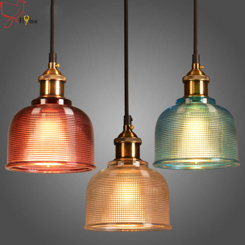 Modern colorful glass pendant light  E27 6 color simple led hanging lamp droplight for dinning bar restaurant deco light fixture