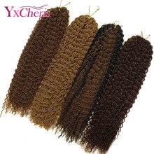 YXCHERISHAIR, 18 дюймов, вязанные крючком косички, афро, кудрявые, крученые, синтетические, Омбре, косички, волосы для наращивания, черные, Marly