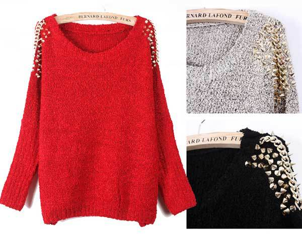 Women Rock Embellished Spiked Studs Chain Batwing Sleeve Jumper ...