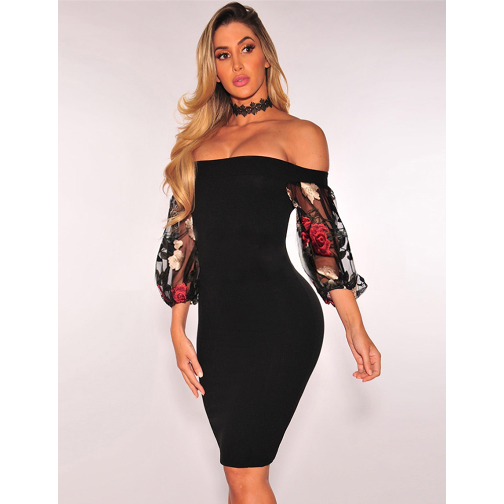 Black Off Shoulder Floral Embroidery Bodycon Dress with Lantern Sleeve dress for women wear Elegant Strapless knee Length Dress