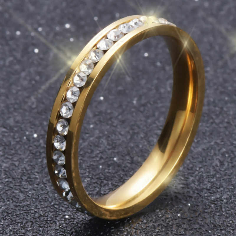 Never Fade Gold  Colour   Ring Stainless Steel Jewelry Titanium Men's Engagement Rings Wedding Rings For Women G18