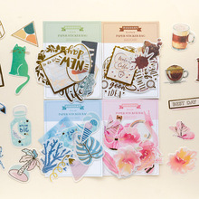 50Pcs/pack Vintage Kawaii Colorful Gold Stickers Scrapbooking Creative DIY Bullet Journal Decorative Adhesive Labels Stationery