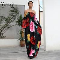 Yesexy 2019 Women Sexy One Neck Flower Print Dress Off Shoulder Backless Long Sleeve Elegant Dress VR18421