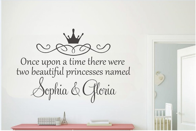 Custom made twins name wall sticker girls name wall art vinyl decal children room baby nursery