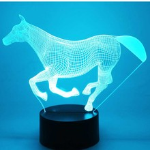 3D LED Lamp Amazing Visualization Optical Illusion Awesome Night Light  Running Horse with 7 Colors Light 5f6bb637b684