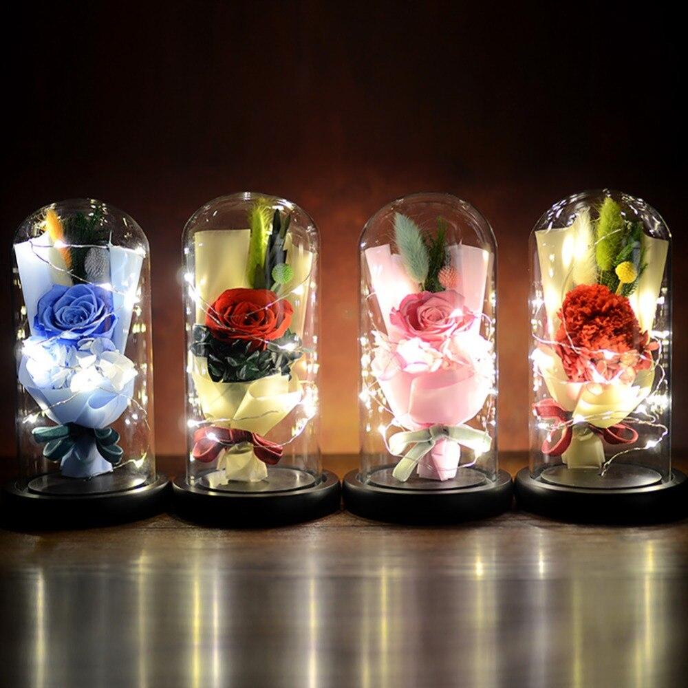 Lampe de nuit Rose éternelle Rose en soie avec 7 couleurs lumière LED pétales tombés en dôme sur une Base en bois cadeau pour cadeau saint-valentin
