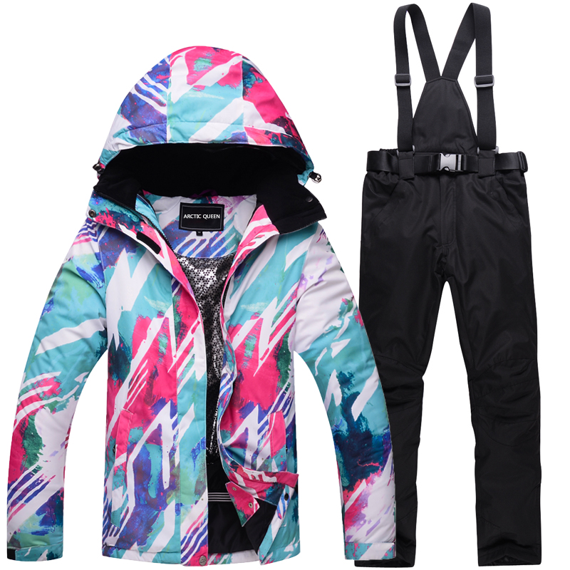 Cheap Women Snow clothing Snowboarding suit sets winter Outdoor Sportswear Waterproof windproof Skiing jackets and belt pants