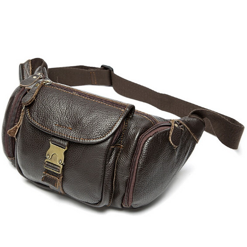 100% genuine leather waist bag men bags fanny pack first layer cowhide leather waist pack belt bag men genuine leather bags mini (20)