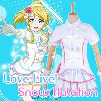 אהבה בשידור חי Ayase קוספליי חורף שלג ההילה לבן שמלה יפה אלי Cosplay תלבושות למבוגרי נשים בנות בתוספת גודל