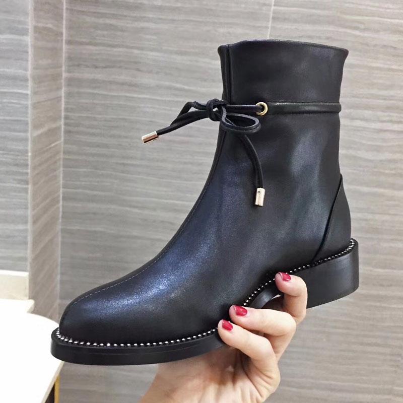 Feminino Cheville Femmes Dentelle Talon Bottes Bout Rond Botas Sapato Courtes Chaussures Faible Marque As En up Dames Cozy Pic Cuir shtrdQ