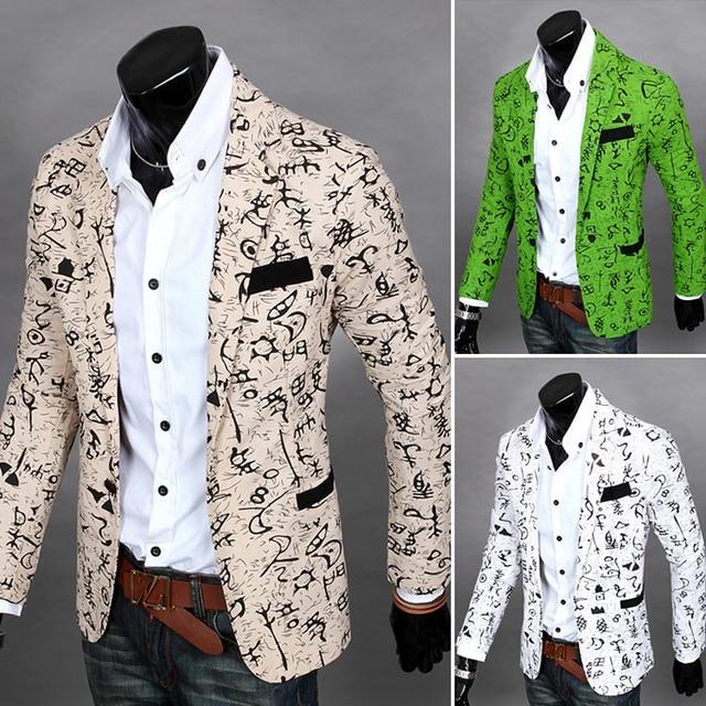 Корейский пиджак для мужчин платье Печати цветочный цвет Мода молодой мужской парикмахер мужские slim fit blazer Ночной Клуб одежда