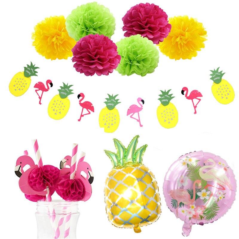 Hawaiian Party Dekorationen Flamingo Girlanden Luftballons Für Luau Party Strand Sommer Tropical Geburtstag Dekoration Lieferungen
