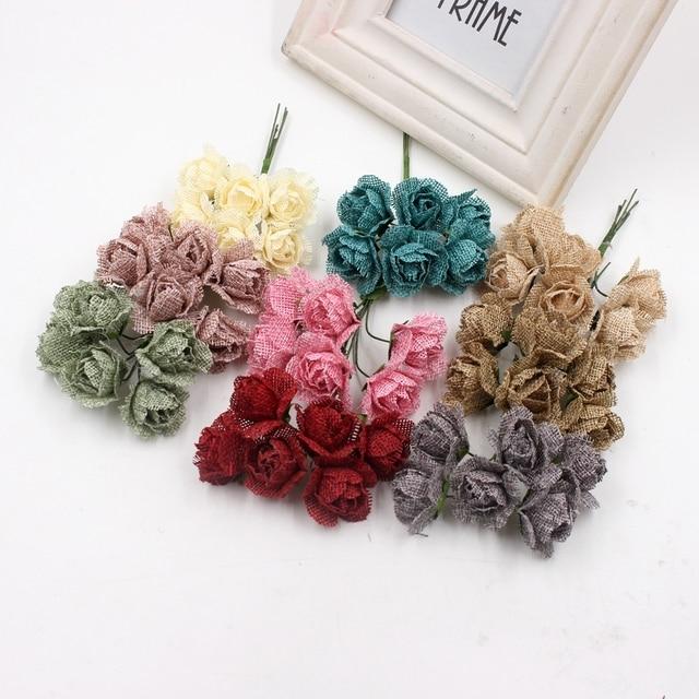 60pcs Flax Rose Bouquet Flowers For Wedding Scrapbooking Garland ...